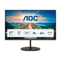 "AOC Q27V4EA - Monitor LED - 27"" - 2560 x 1440 QHD @ 75 Hz - IPS - 250 cd/m² - 1000:1 - 4 ms - HDMI, DisplayPort - altifalantes"