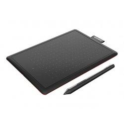 One by Wacom Small - Digitalizador - destros e canhotos - 15.2 x 9.5 cm - eletromagnético - com cabo - USB - preto, vermelho