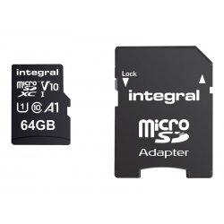 Integral - Cartão de memória flash (adaptador microSDXC para SD Incluído) - 64 GB - A1 / Video Class V10 / UHS Class 1 / Class1