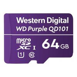 WD Purple SC QD101 WDD064G1P0C - Cartão de memória flash - 64 GB - UHS-I U1 / Class10 - microSDXC UHS-I - púrpura
