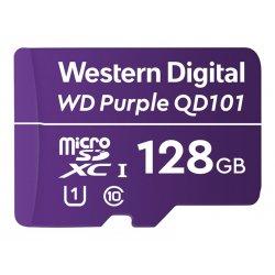 WD Purple SC QD101 WDD128G1P0C - Cartão de memória flash - 128 GB - UHS-I U1 / Class10 - microSDXC UHS-I - púrpura