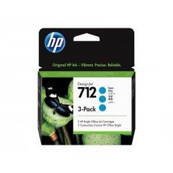 HP 712 - Pack de 3 - 29 ml - azul cyan - original - DesignJet - tinteiro - para DesignJet Studio, T210, T230, T250, T630, T650