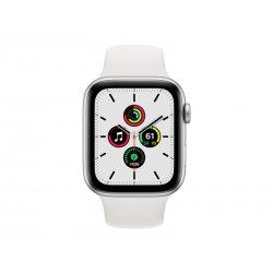 Apple Watch SE (GPS) - 44 mm - alumínio prata - relógio inteligente Com banda de desporto - fluoroelastómero - branco - tamanho