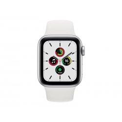 Apple Watch SE (GPS) - 40 mm - alumínio prata - relógio inteligente Com banda de desporto - fluoroelastómero - branco - tamanho