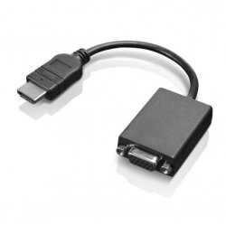Lenovo - Adaptador de vídeo - HDMI / VGA - HDMI (M) para HD-15 (VGA) (F) - 20 cm - para IdeaPad S145-14, S145-15, ThinkCentre M