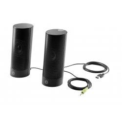 HP USB Business speakers v2 - Altifalantes - para PC - 4 Watt (Total) - preto (cor da grade - preto) - para HP 260 G3, Desktop
