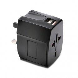 Kensington International Travel Adapter - Adaptador de alimentação (BS 1363, NEMA 1-15, Europlug, AS/NZS 3112, 2 x USB) - preto