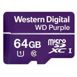 WD Purple WDD064G1P0A - Cartão de memória flash - 64 GB - UHS-I U1 / Class10 - microSDXC - púrpura