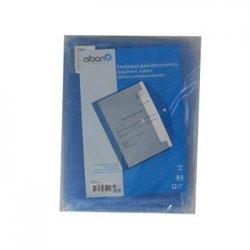 Bolsa Porta Documentos A5 c/1 Botao Azul Transparente Pack12