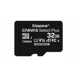 Kingston Canvas Select Plus - Cartão de memória flash - 32 GB - A1 / Video Class V10 / UHS Class 1 / Class10 - microSDHC UHS-I