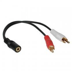 C2G Value Series Y-Cable - Adaptador de áudio - RCA (M) para porta mini estéreo (F) - blindado - preto