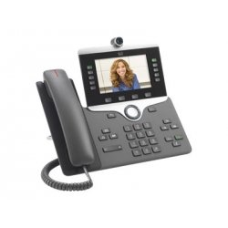 Cisco IP Phone 8845 - Videofone IP - com câmara digital, interface Bluetooth - SIP, SDP - 5 linhas - carvão vegetal