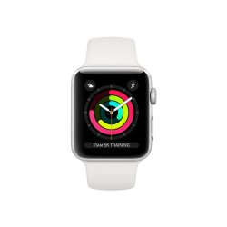 Apple Watch Series 3 (GPS) - 38 mm - alumínio prata - relógio inteligente Com banda de desporto - fluoroelastómero - branco - t