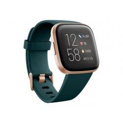 Fitbit Versa 2 - Cobre rosa - relógio inteligente Com banda - silicone - esmeralda - Wi-Fi, NFC, Bluetooth - 40 g