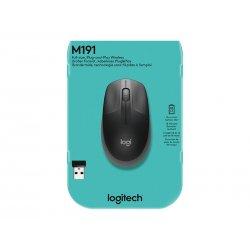 Logitech M190 - Rato - óptico - 3 botões - sem fios - receptor sem fio USB - carvão vegetal