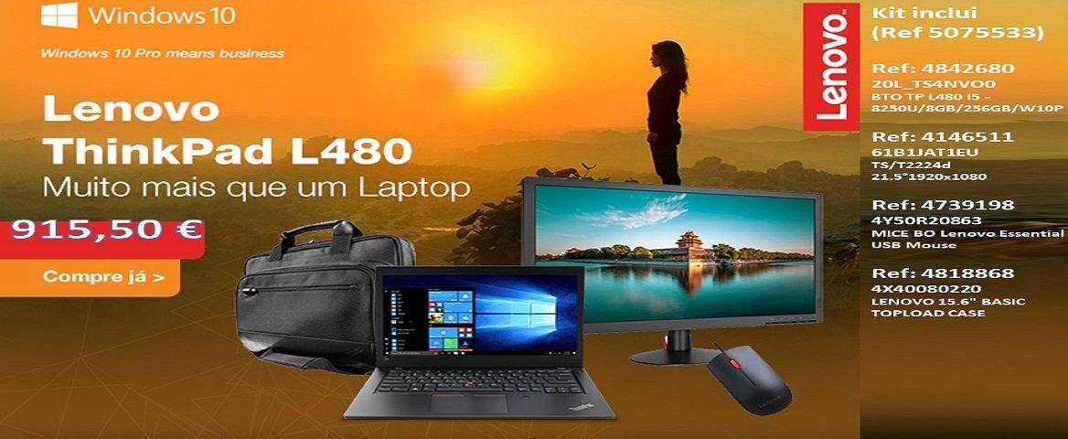 Kit Laptop Lenovo I5, monitor 21,5``, mala e rato usb