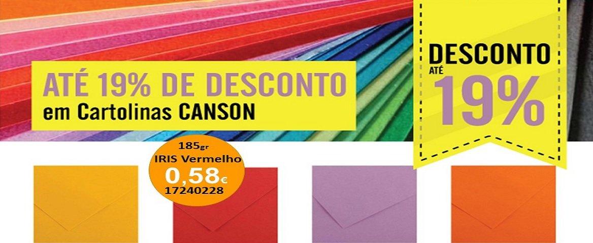Descontos até 19% cartolinas Canson